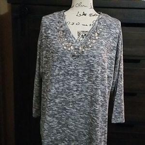 Grey sweatshirt with jeweled neckline